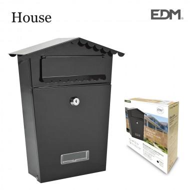 Buzon de acero modelo house negro