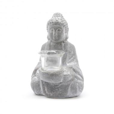 Estatua buda de hormigon con portavelas de cristal