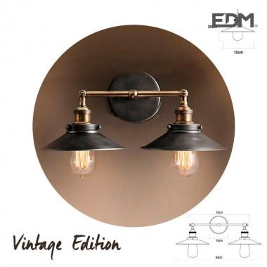 Aplique doble vintage e27 60w - 63x15x29cm