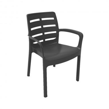 Sillon apilable color negro resina 60,5x54x82cm ipae progarden
