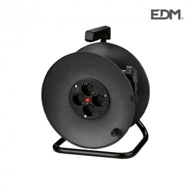 Enrollacables  con protector termico 3 x1,5mm  25mts 4 tomas edm