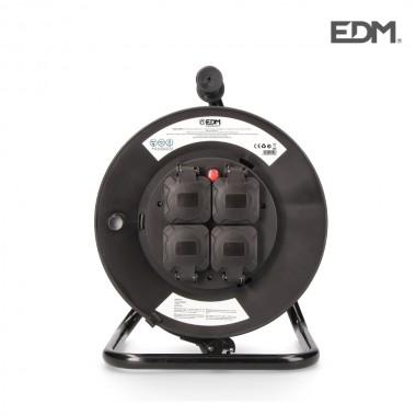 Enrollacables profesional con protector termico 3 x1,5mm  25m 4 tomas (con tapas) edm