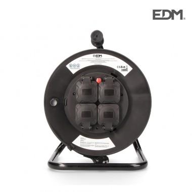 Enrollacables profesional con protector termico 3 x1,5mm 50mts 4 tomas (con tapas)  edm