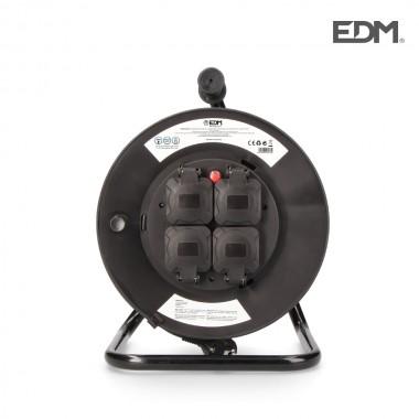 Enrollacables profesional con protector termico 3 x2,5mm 25mts 4 tomas con tapa 3600 w 250v edm