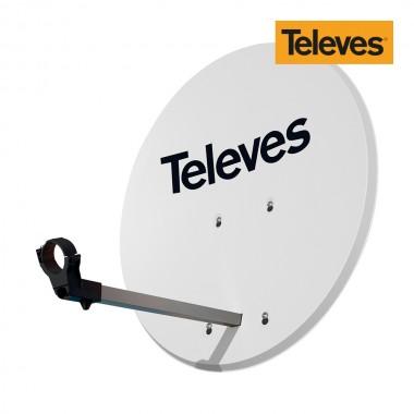 Antena parabolica diam.63cm offset disco aluminio color blanco televes