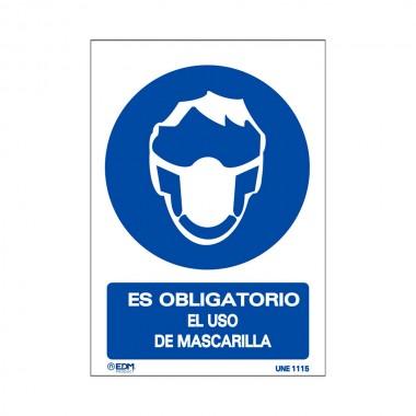 Vinilo obligatorio uso mascarilla 210x300mm