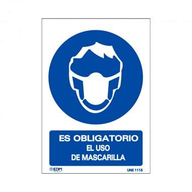 Vinilo obligatorio uso mascarilla 150x200mm