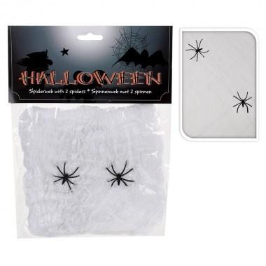 Telaraña halloween con 2 arañas 50x40cm
