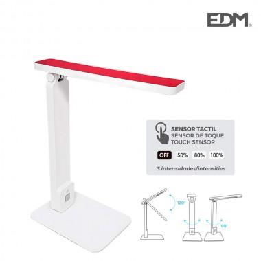 "Flexo led sobremesa 5w modelo ""roma"" color blanco/rojo interruptor-regulador tactil 220-240v edm"