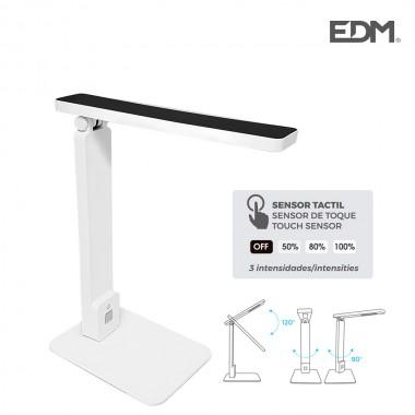 "Flexo led sobremesa 5w modelo ""roma"" color blanco/negro interruptor-regulador tactil 220-240v edm"