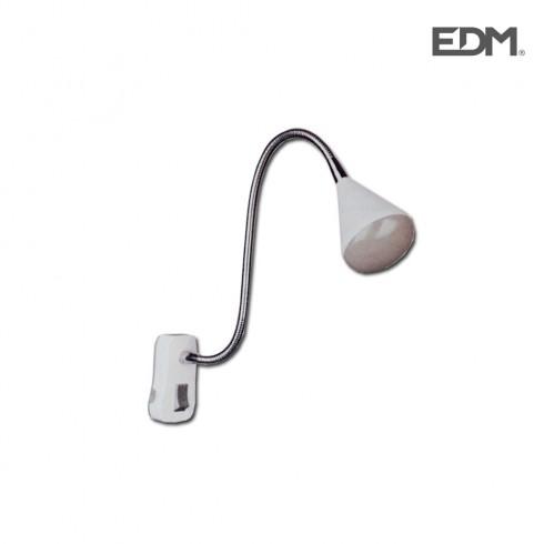 "Flexo led con clavija 4w modelo ""athens"" color blanco 220-240v cuello flexible edm"