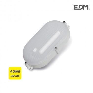 Aplique exterior led oval 9w 810 lumens ip65 4.000k luz dia edm