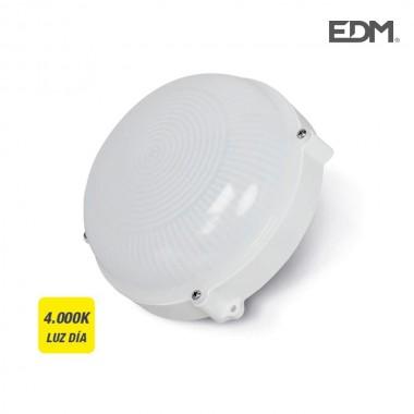 Aplique exterior led circular 12w 1080 lumens ip65 4.000k  luz dia edm