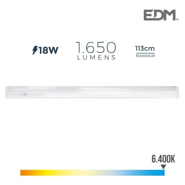 Regleta electronica led 18w 1650 lumens 113cm 6.400k luz fria edm