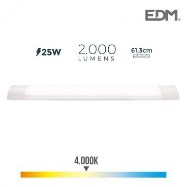 Regleta electronica led 25w 61cm 4.000k luz dia 2000 lumens edm