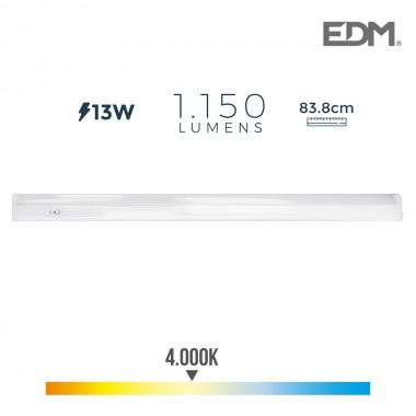 Regleta electronica led 13w 1150 lumens 86cm 4.000k luz dia edm