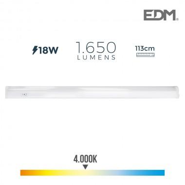 Regleta electronica led 18w 1650 lumens 113cm 4.000k edm
