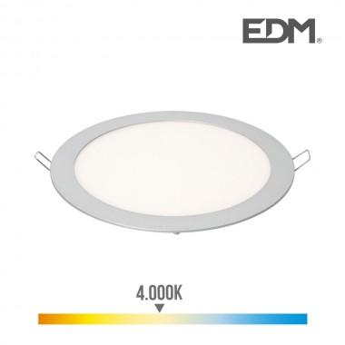 Downlight led empotrable 20w luz dia 4.000k 1500 lumens cromo mate edm