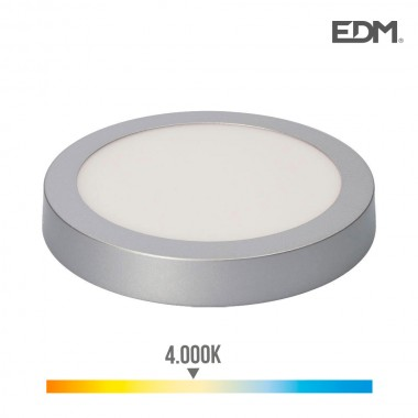 Downlight led superficie 20w 1500 lumens 4.000k luz dia cromo mate edm