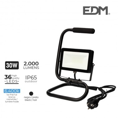 Foco proyector led con pie 30w 2000 lm 6400k luz fria edm