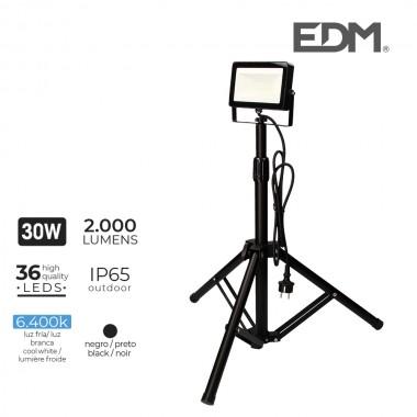 Foco proyector led con tripode 30w 2000 lm luz fria 6400k edm