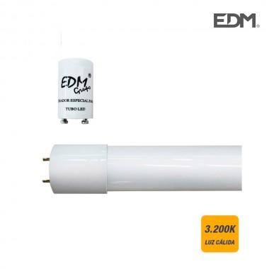 Tubo led t8 18w 1600 lm 3200k luz calida (eq.36w) edm