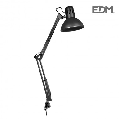 Flexo arquitecto negro modelo melbourne con mordaza de fijación e27 60w edm