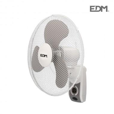 Ventilador pared blanco con mando a distancia 45w ø aspas 40 cm edm